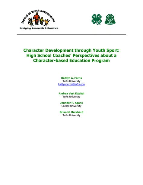 character development  youth sport high
