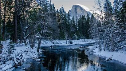 Forest Winter Mountain Snow River Reflection Trees