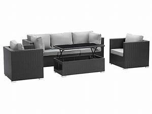 awesome salon de jardin canape table haute images With canape d angle exterieur resine 5 collection salon de jardin kuopio en resine tressee beige