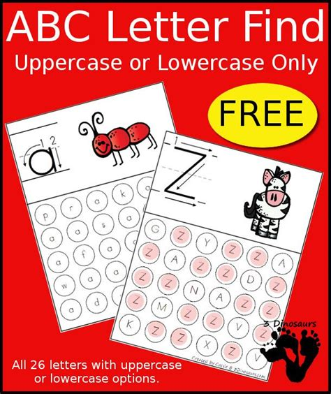 free printable alphabet letters free abc letter find uppercase or lowercase printable 3 53250