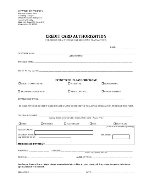 credit card authorization form sle 8 exles in word pdf
