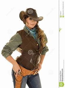 Cowgirl With Gun And Holster Ready To Draw Stock Image ...