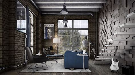 Classic Kitchen Ideas - industrial style for living room design apply with concrete brick and wooden touched roohome