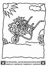Coloring Garden Pages Gazebo Flower Clipart Library Wheelbarrow Template sketch template