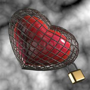 Heart In A Cage With A Padlock