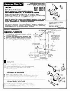 Colony Bath  Shower Trim Kit T371 Series Manuals