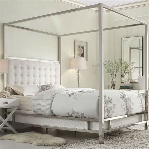 full size metal canopy bed  white faux leather