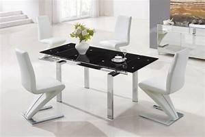 Table à Manger Noire : table salle manger extensible et design en 35 images ~ Teatrodelosmanantiales.com Idées de Décoration