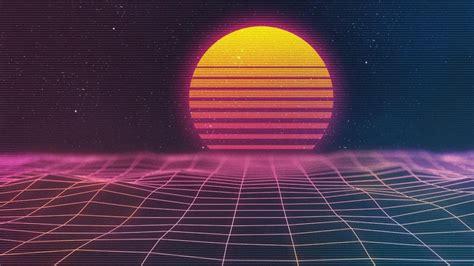 neon sun space retrowave hd vaporwave wallpapers hd
