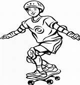 Skateboard Coloring Skateboarding Boy Drawing Printable Cool sketch template