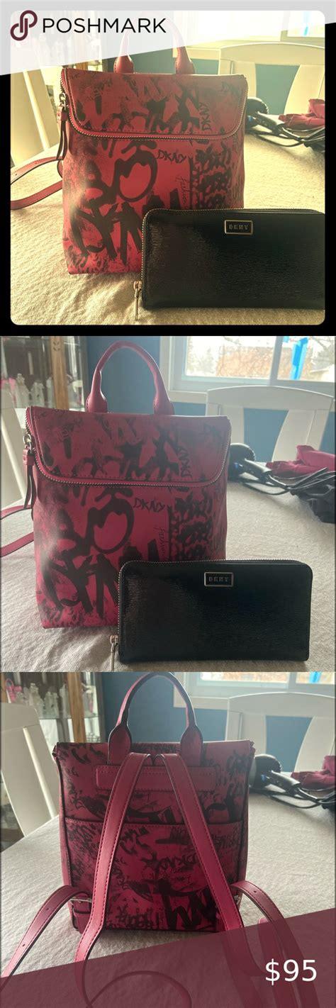 dkny backpack purse wallet set pink leather graffiti backpack  matching black wallet
