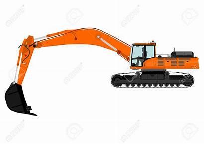 Excavator Vector Clipart Tracks Clip Orange Illustration