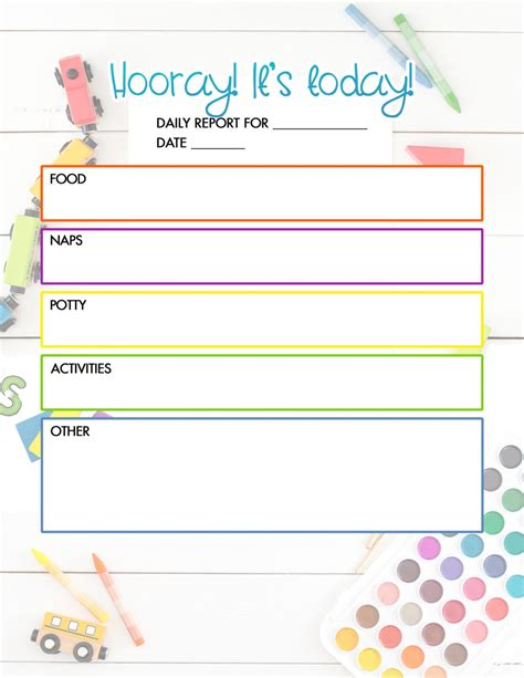 free daycare daily report child care printable the diy 114 | Free Daycare Daily Report 1020x1320