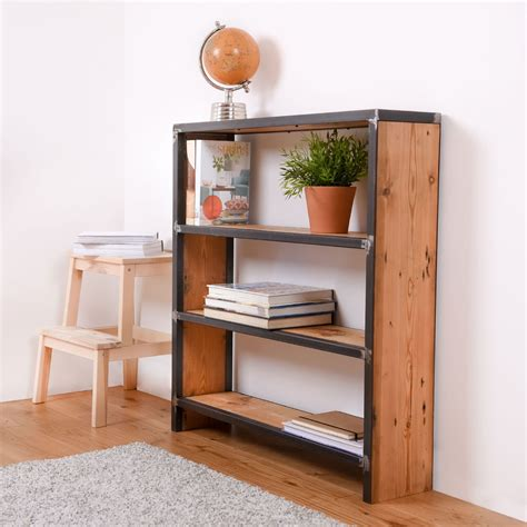 Steel Bookcases by Reclaimed Wood And Steel Industrial Bookcase