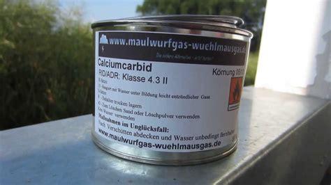 verbotene mittel gegen maulwurf wie sich calciumcarbid unter zusatz wasser zersetzt