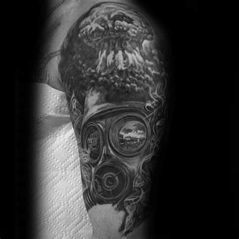 mushroom cloud tattoo tattoos designs nuclear atomic mask gas sleeve symbol half annihilation hell shaded peace ink precious wartime reminds