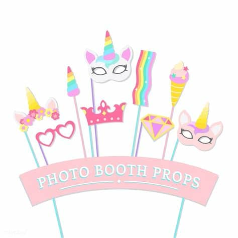 Create your diy project using your cricut explore, silhouette and more. Cute unicorn photo booth party props vector   free image ...