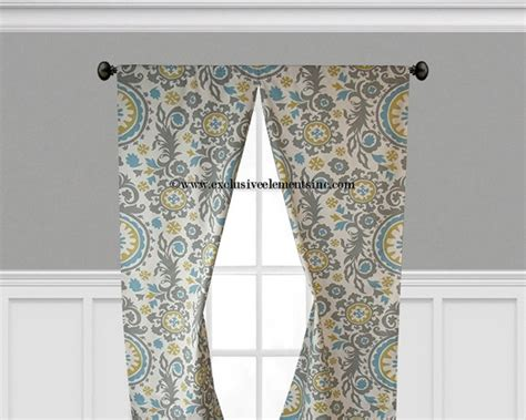 items similar to gray blue yellow curtain panels damask