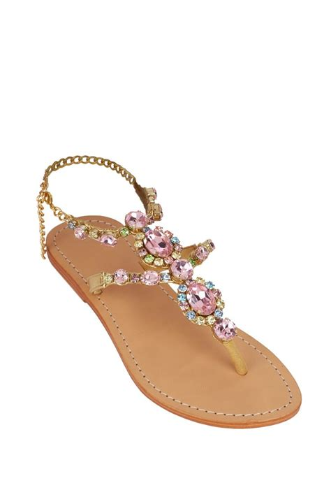 colored flats mystique jeweled flat sandals lalunacouture https