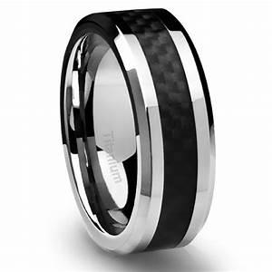 Men39s titanium ring wedding band black carbon fiber 8mm for Wedding ring black titanium