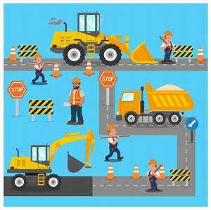 Construction site work illustration with machine and