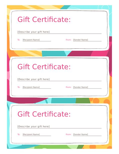 Gift Certificate Template Free Blank Gift Certificate Template Mughals