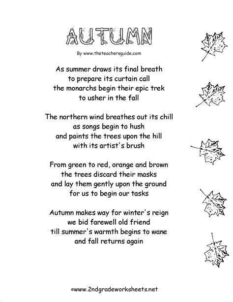 Autumn Fall Poem Worksheets