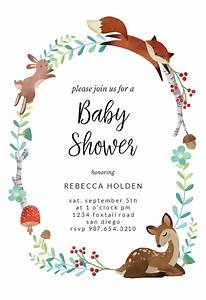 Save The Date Download Template Woodland Animal Wreath Baby Shower Invitation Template