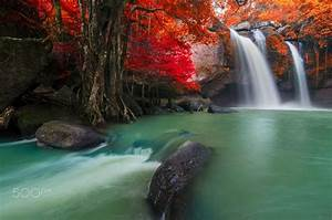 Beautiful, Waterfall, In, Autumn, Forest, Thailand, By