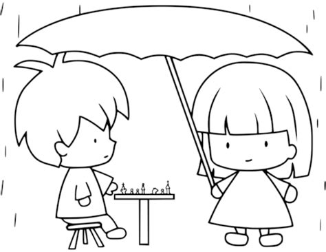 children playing chess  raining coloring page  printable coloring pages