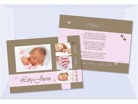 danksagungskarte geburt baby  braun rosa