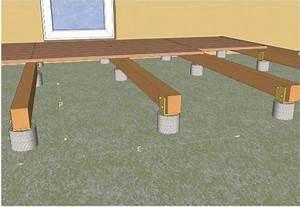 pose d39une terrasse en bois sur plots en beton With construire une terrasse en beton
