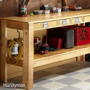roll around kitchen island simple workbench plans the family handyman