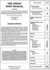 1985 Chevy Sprint Repair Shop Manual Original