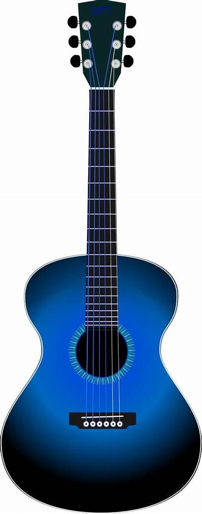 Guitar Clip Clipart Acoustic Outline Blues Vector