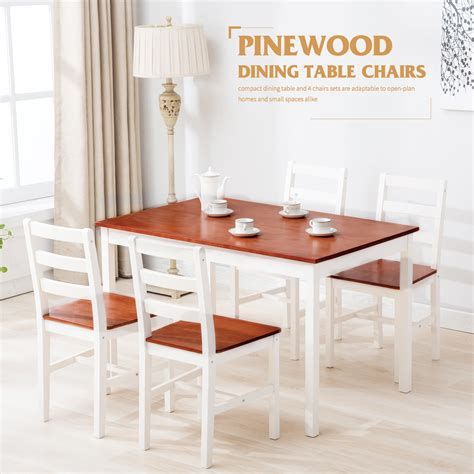piece pine wood dining table  chairs dining table set