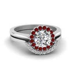 round cut floral halo diamond wedding ring set with ruby With diamond and ruby wedding ring sets