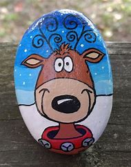 christmas painted rocks painting