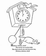 Hickory Dickory Dock Coloring Goose Mother Nursery Rhymes Rhyme Sheets Printable Bluebonkers Clock Mouse Activities Printables Colouring Clip Super Poems sketch template