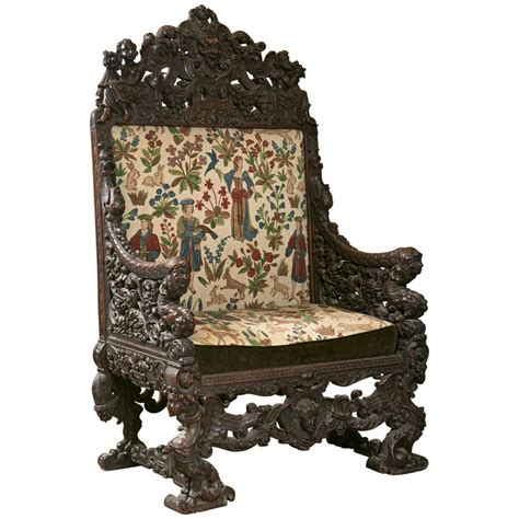 antique oversized carved throne chair at 1stdibs