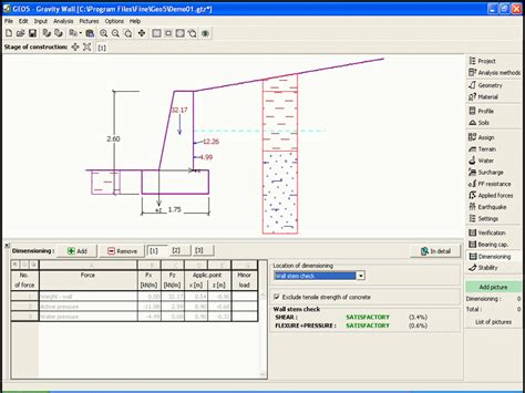 wall design software geo5 gravity wall geotechnical design software earth