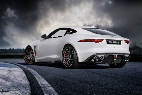 new jaguar f type white jaguar f type coupe tries on a startech for geneva