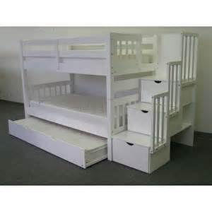 save on stairway bunk bed with trundle white