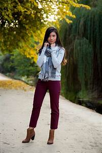 Fall Outfit Series - Gray and Burgundy