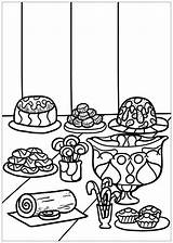 Coloring Dessert Pages Desserts Deserts Popular sketch template