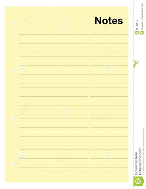 Yellow Notes Page Stock Vector. Image Of Information