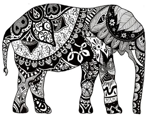advanced elephant coloring pages