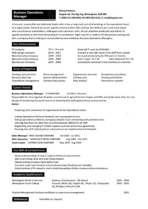 manager of business operations resume business operations manager resume exles cv templates sles