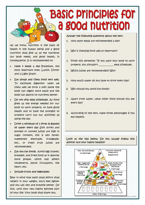 basic principles for a good nutrition english esl worksheets