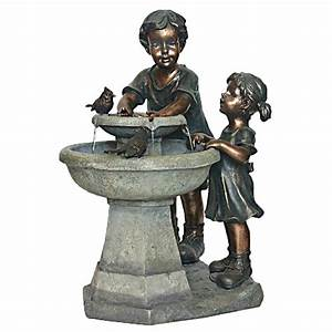 Shop garden treasures 272 in resin statue fountain at for Garden fountains lowes